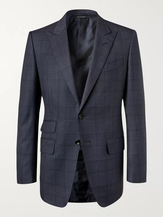 TOM FORD Navy O'Connor Slim-Fit Prince of Wales Checked Wool Suit Jacket