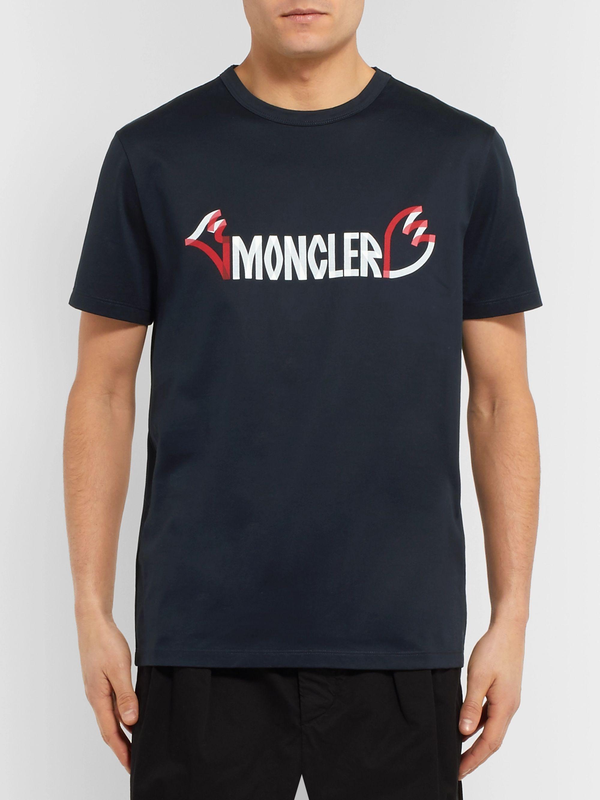 3e6436112 2 Moncler 1952 Printed Cotton-Jersey T-Shirt
