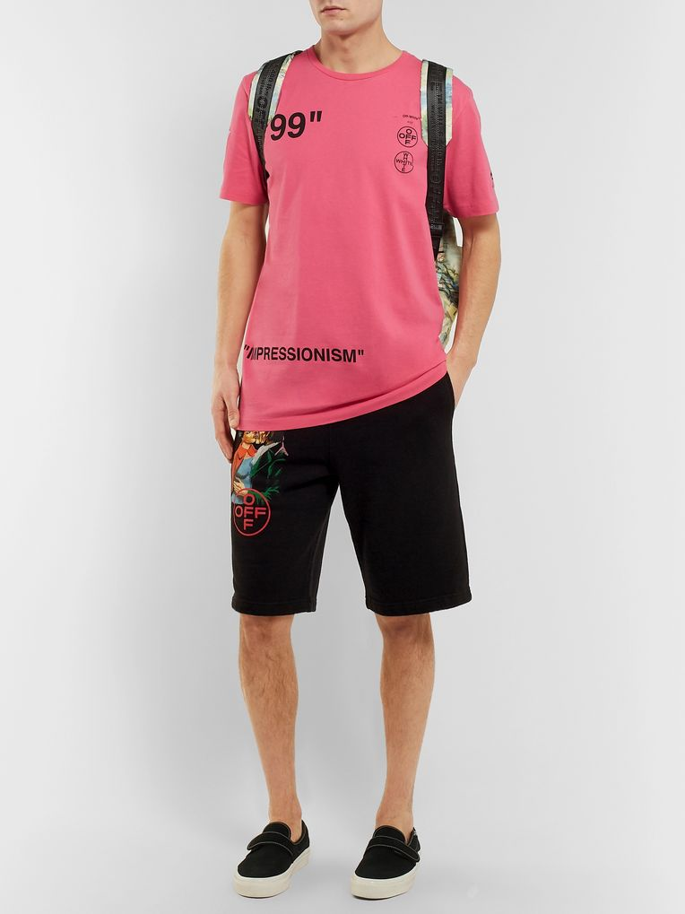 Off-White Slim-Fit Printed Loopback Cotton-Jersey Shorts
