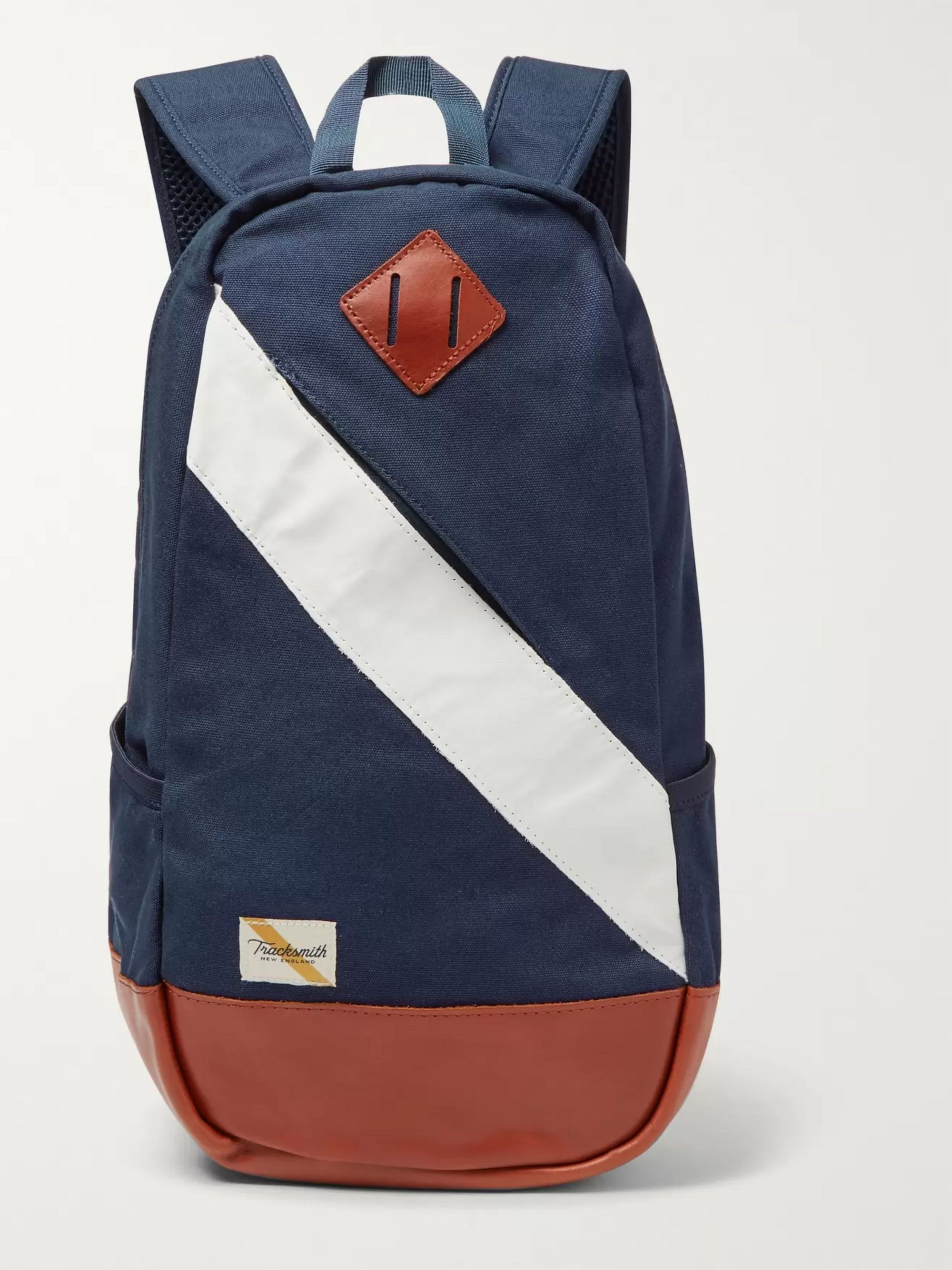 Tracksmith Olmsted Leather-Trimmed Canvas Backpack