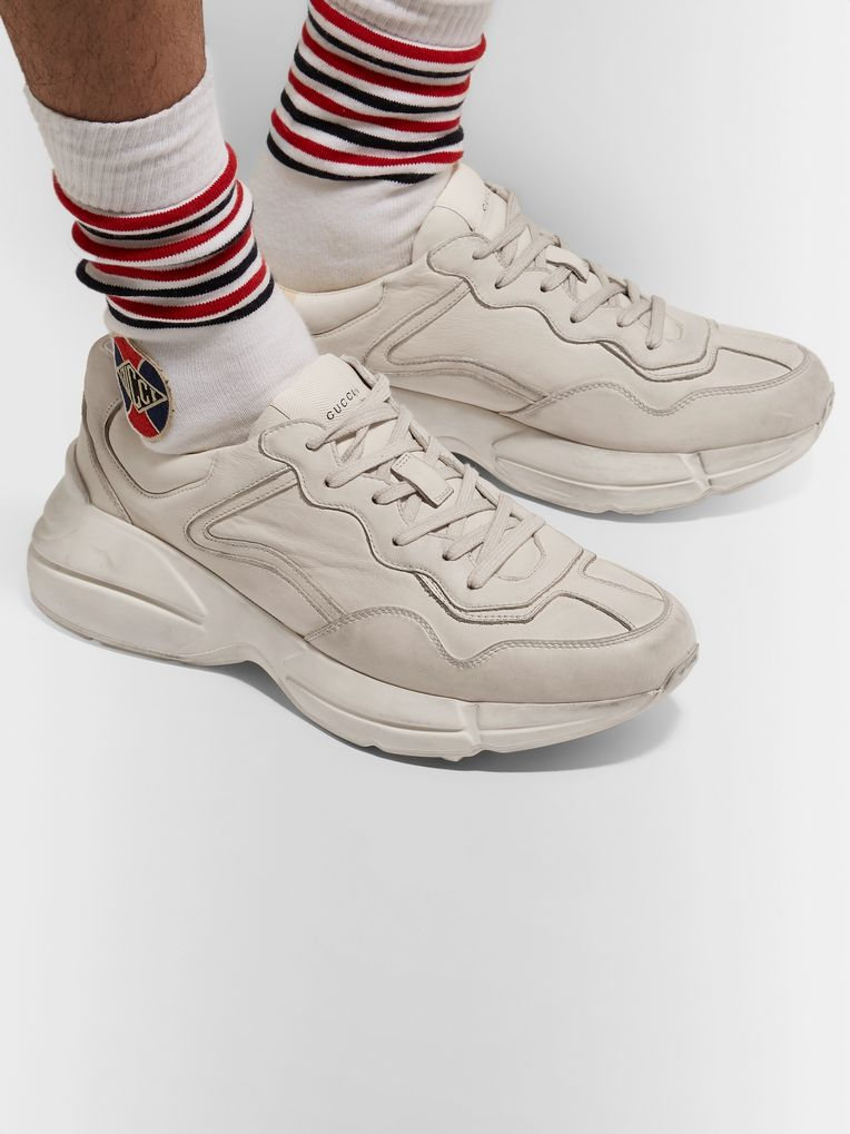 Gucci Rhyton Distressed Leather Sneakers