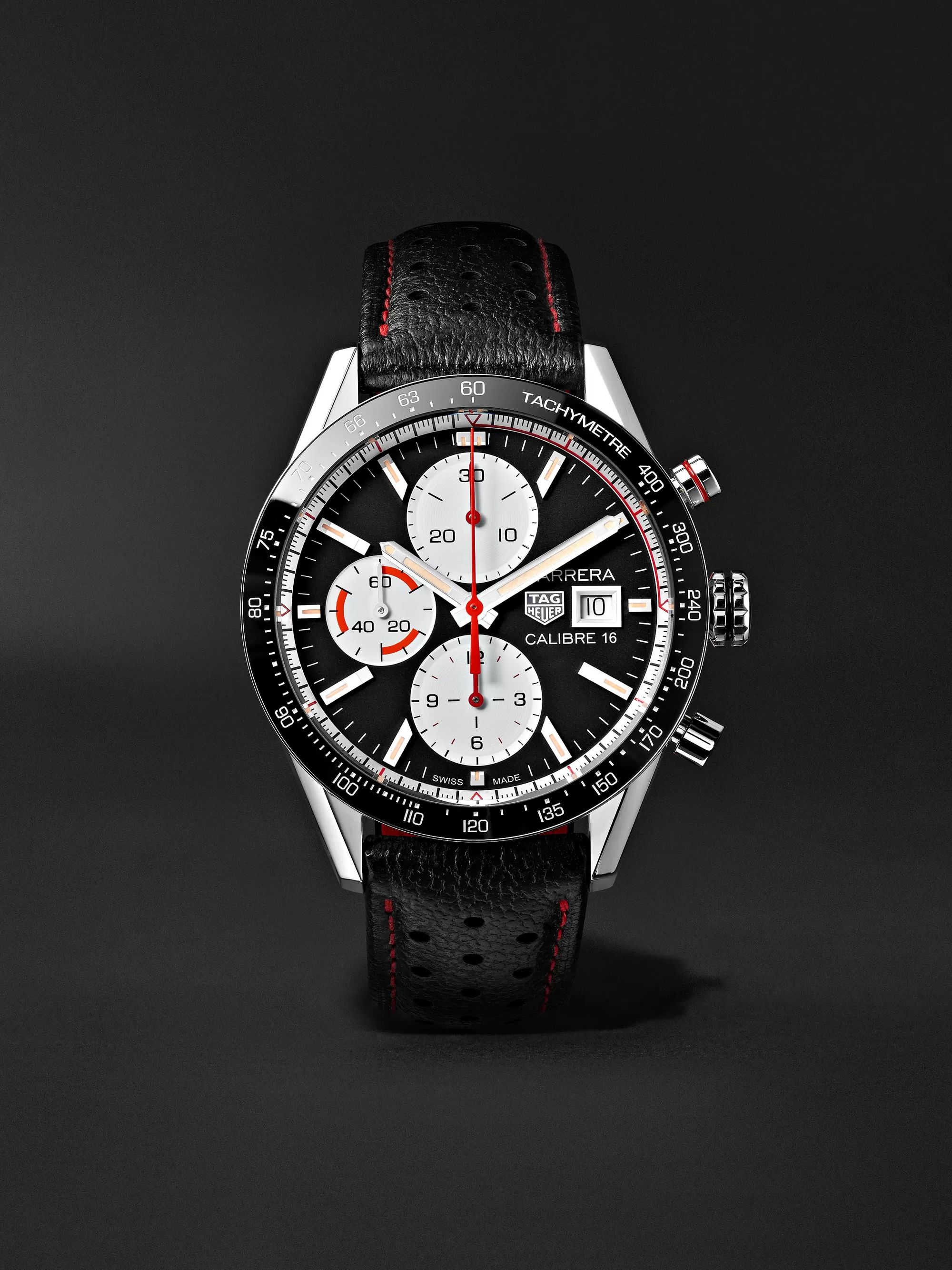 TAG Heuer Carrera Automatic Chronograph 41mm Steel and Leather Watch, Ref. No. CV201AP.FC6429