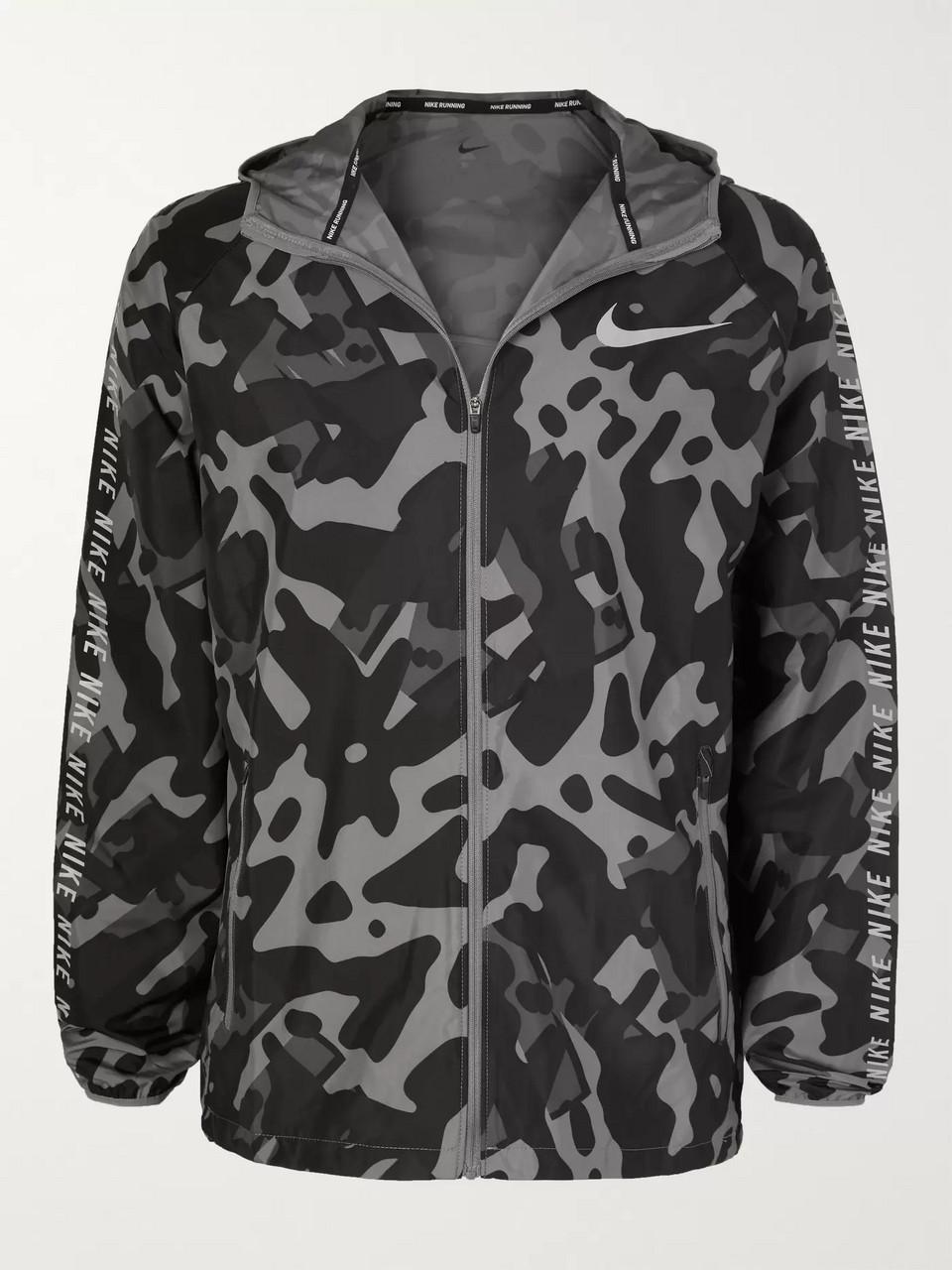 3cac88e99d174 Black Camouflage-Print Shell Hooded Jacket | Nike Running | MR PORTER