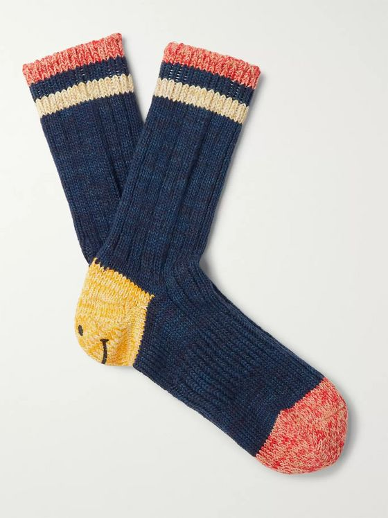 KAPITAL Striped Cotton and Hemp-Blend Socks