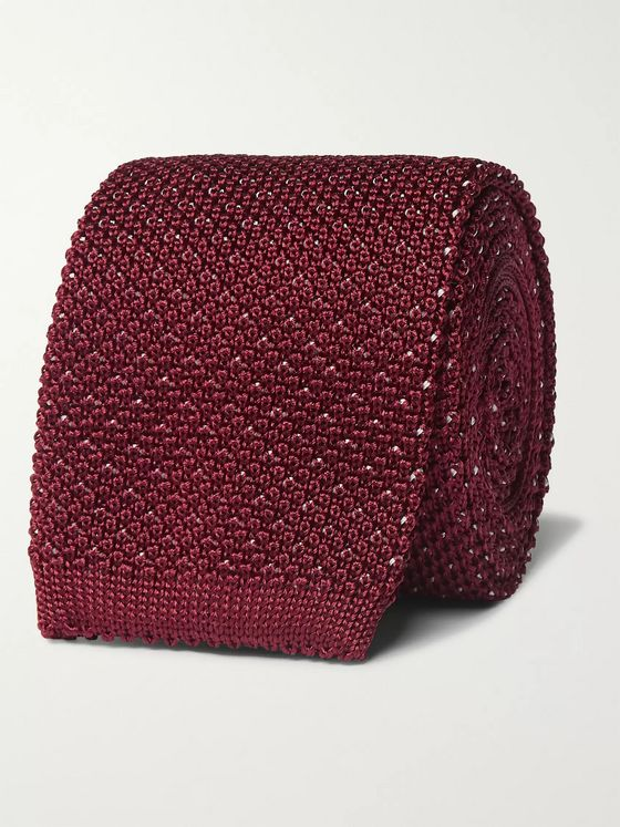 Canali 6.5cm Knitted Metallic Silk Tie