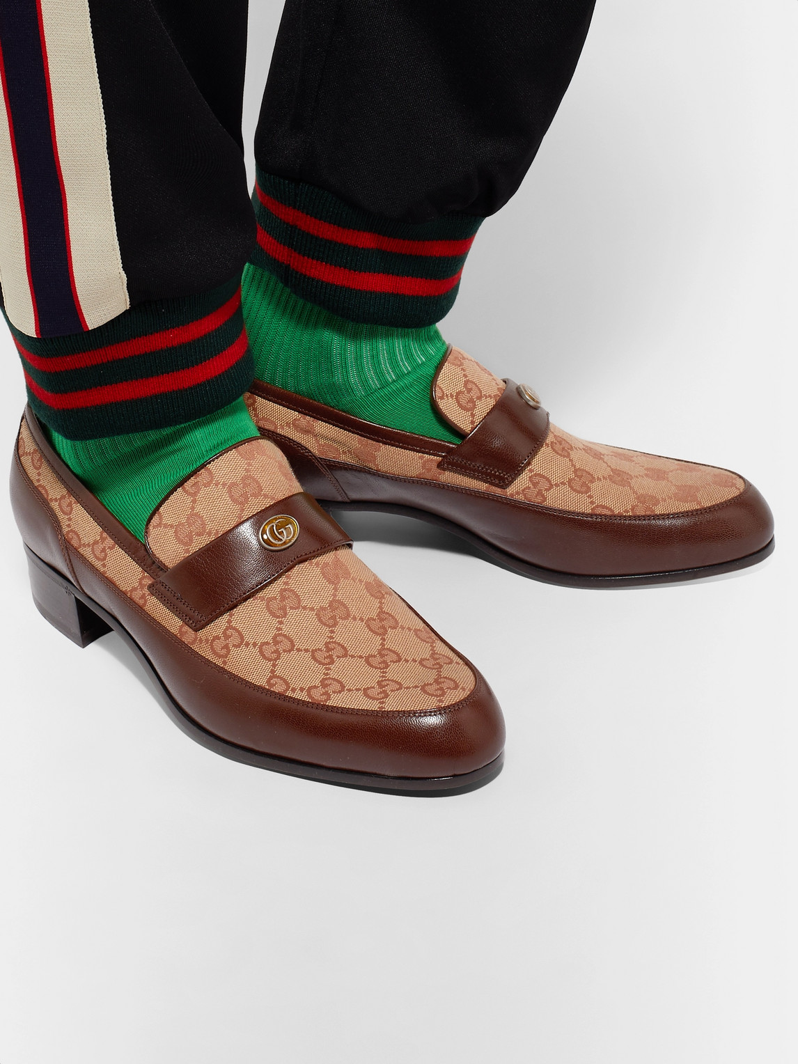 Gucci Loafers PRINTED MONOGRAMMED COATED-CANVAS AND LEATHER LOAFERS