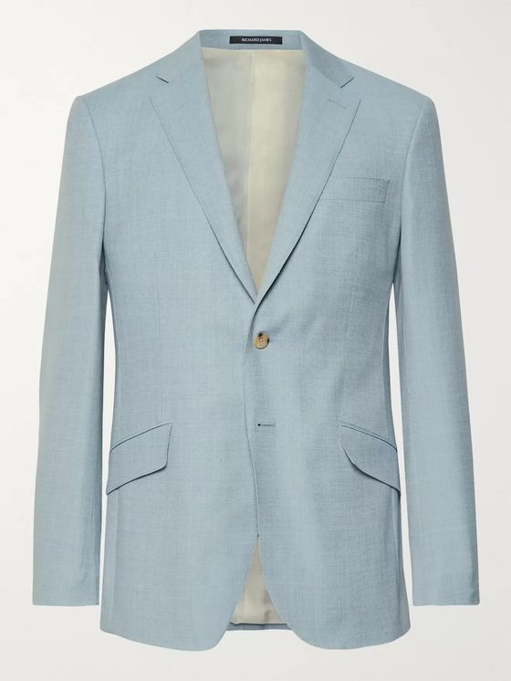 Richard James Light-Blue Seishin Slim-Fit Mélange Wool-Hopsack Suit Jacket