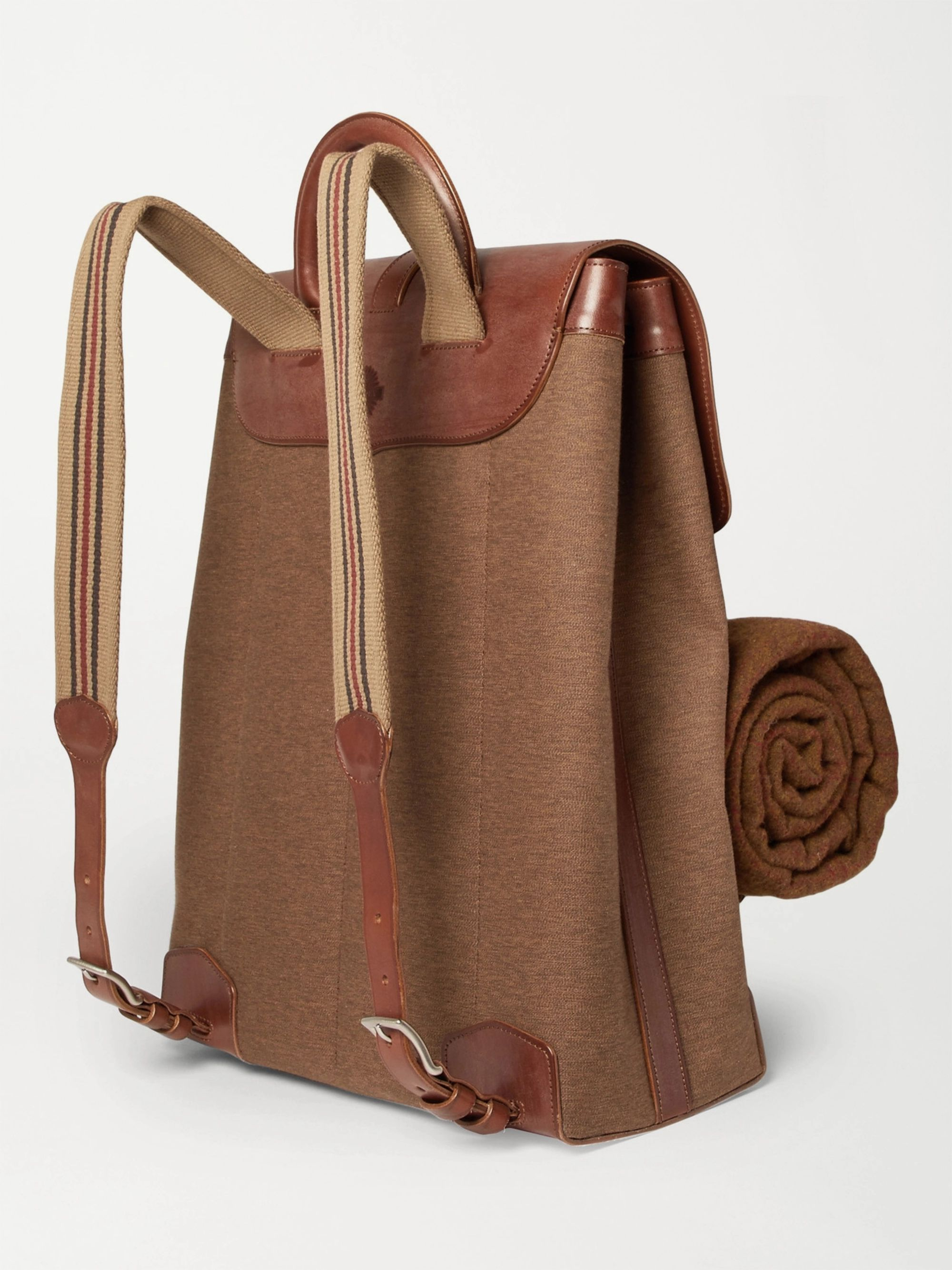 Purdey Leather-Panelled Canvas Backpack and Wool Blanket