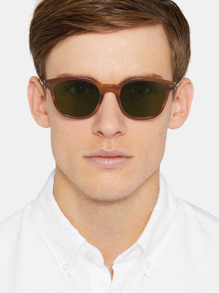 Berluti + Oliver Peoples Miami Square-Frame Tortoiseshell Acetate and Gunmetal-Tone Sunglasses