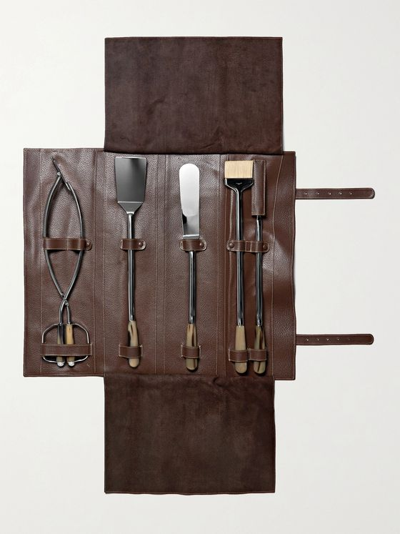LORENZI MILANO BBQ Set With Full-Grain Leather Case