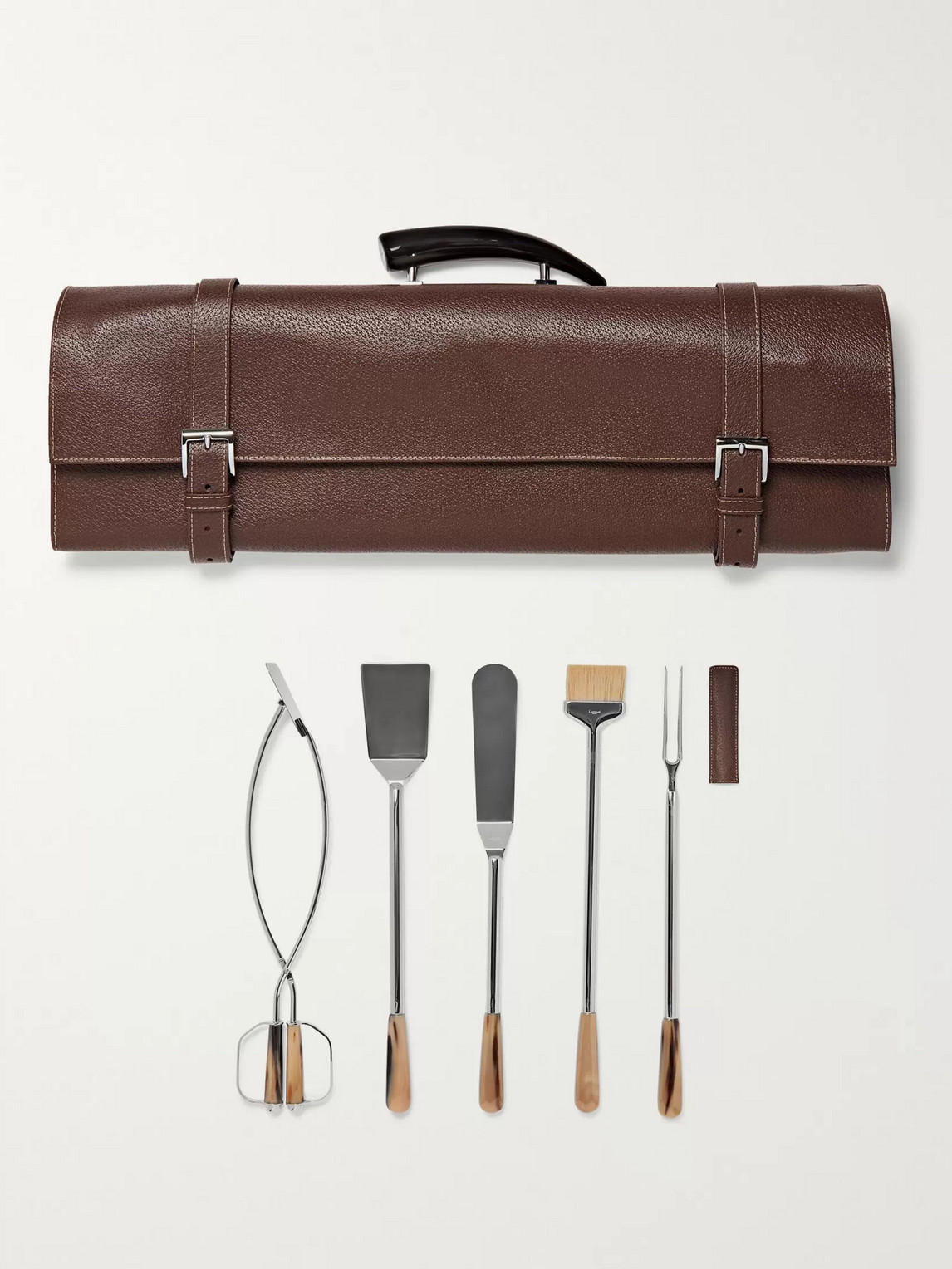 BBQ Set With Full-Grain Leather Case - Men - Brown
