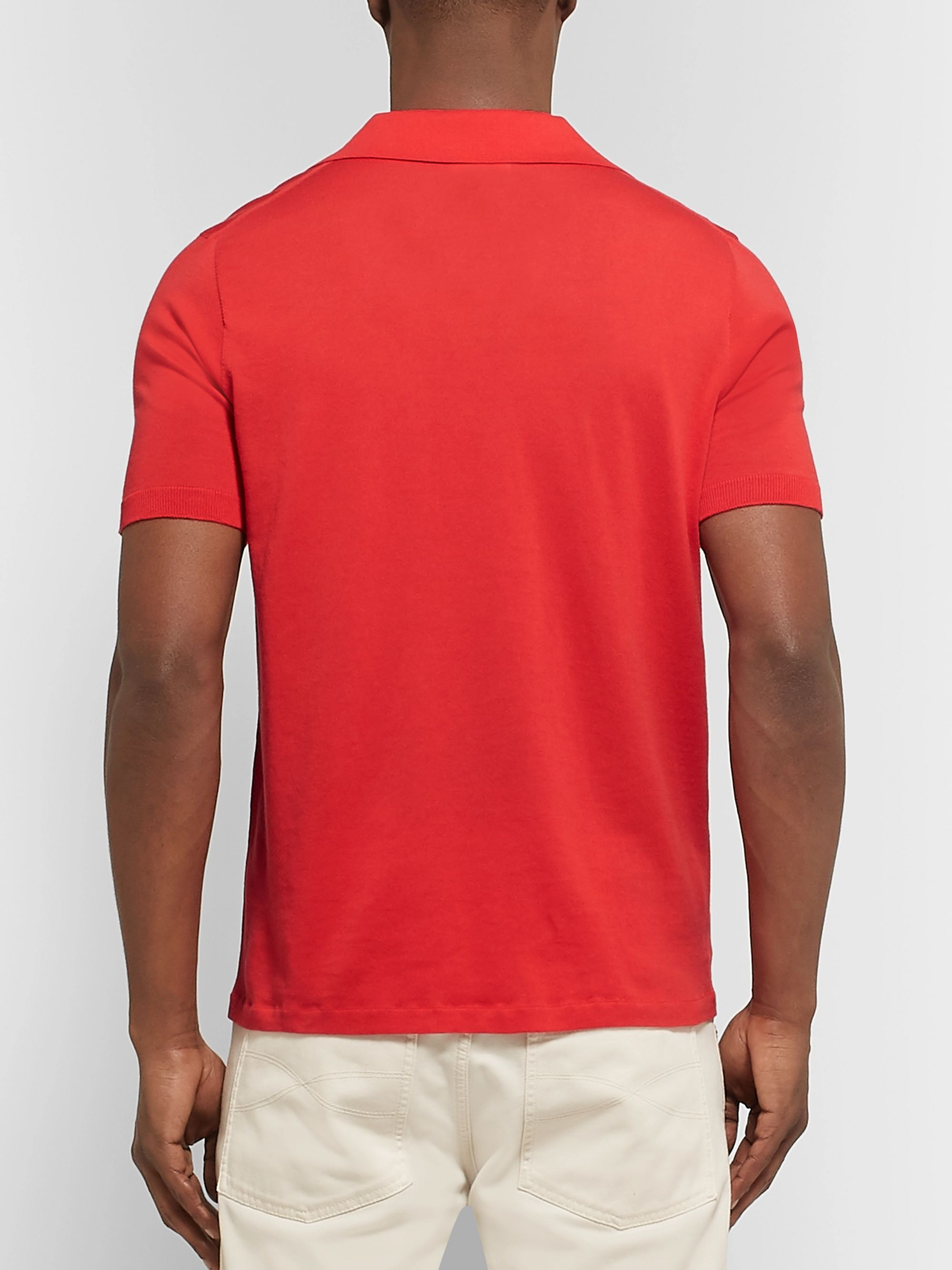 Brioni Slim-Fit Embroidered Cotton-Jersey Polo Shirt