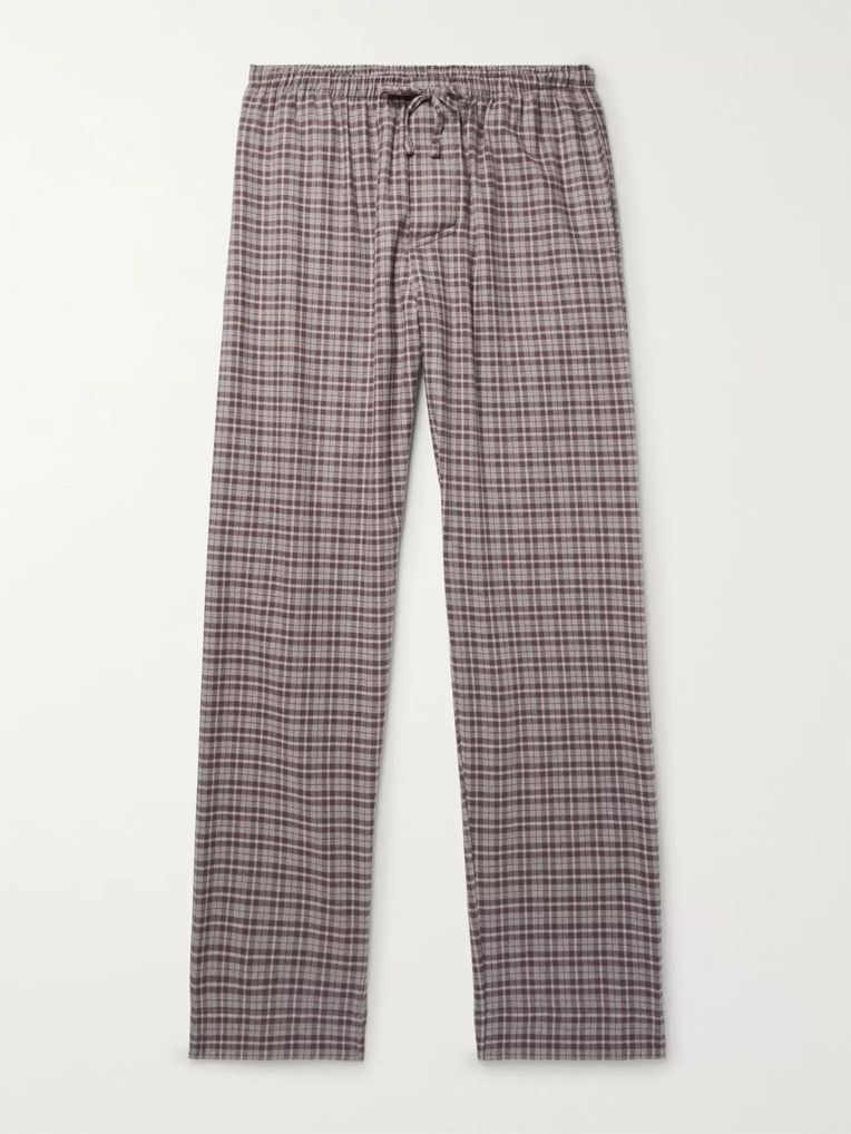 Zimmerli Checked Cotton and Wool-Blend Flannel Pyjama Trousers