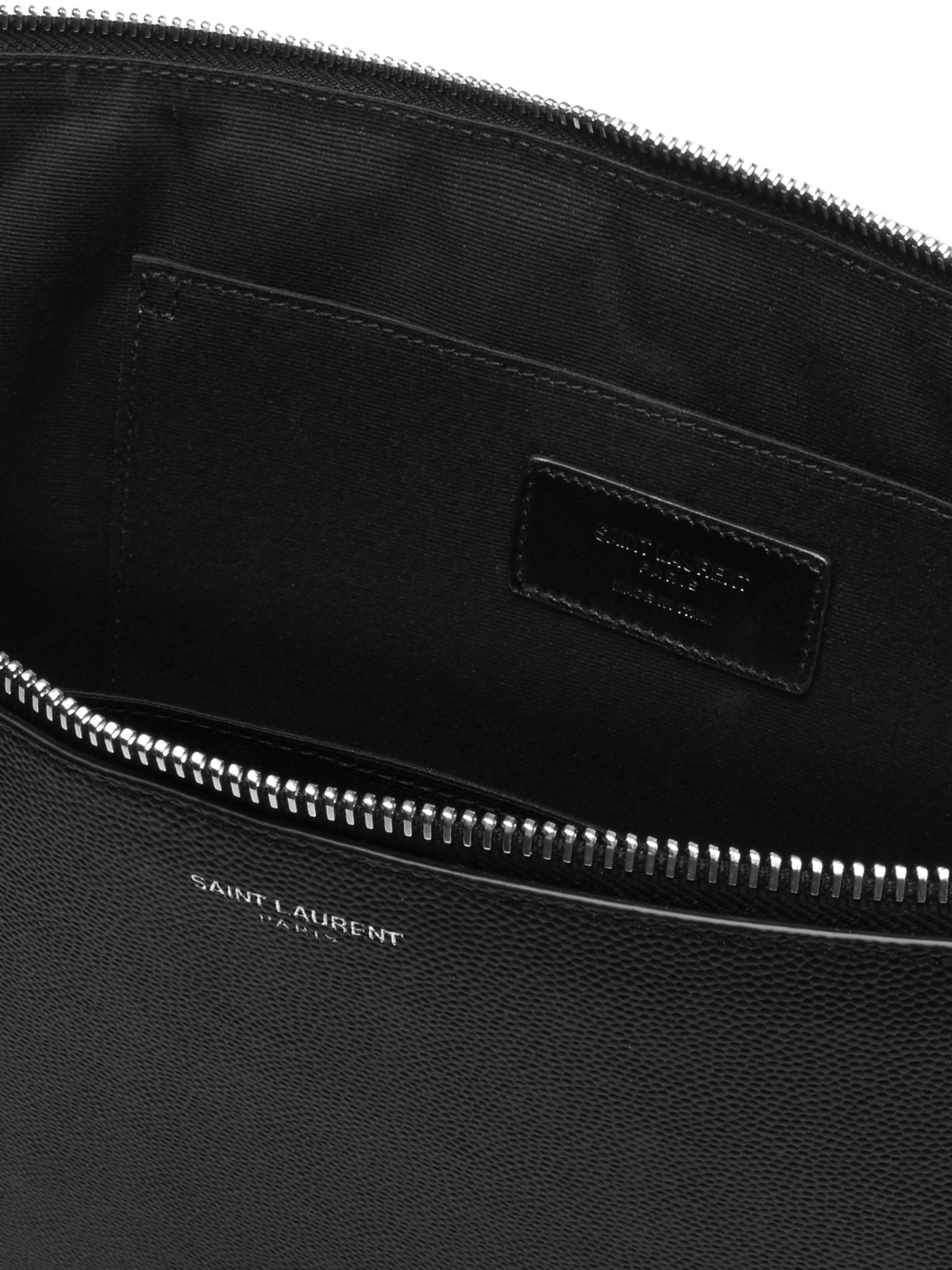 SAINT LAURENT Pebble-Grain Leather Pouch