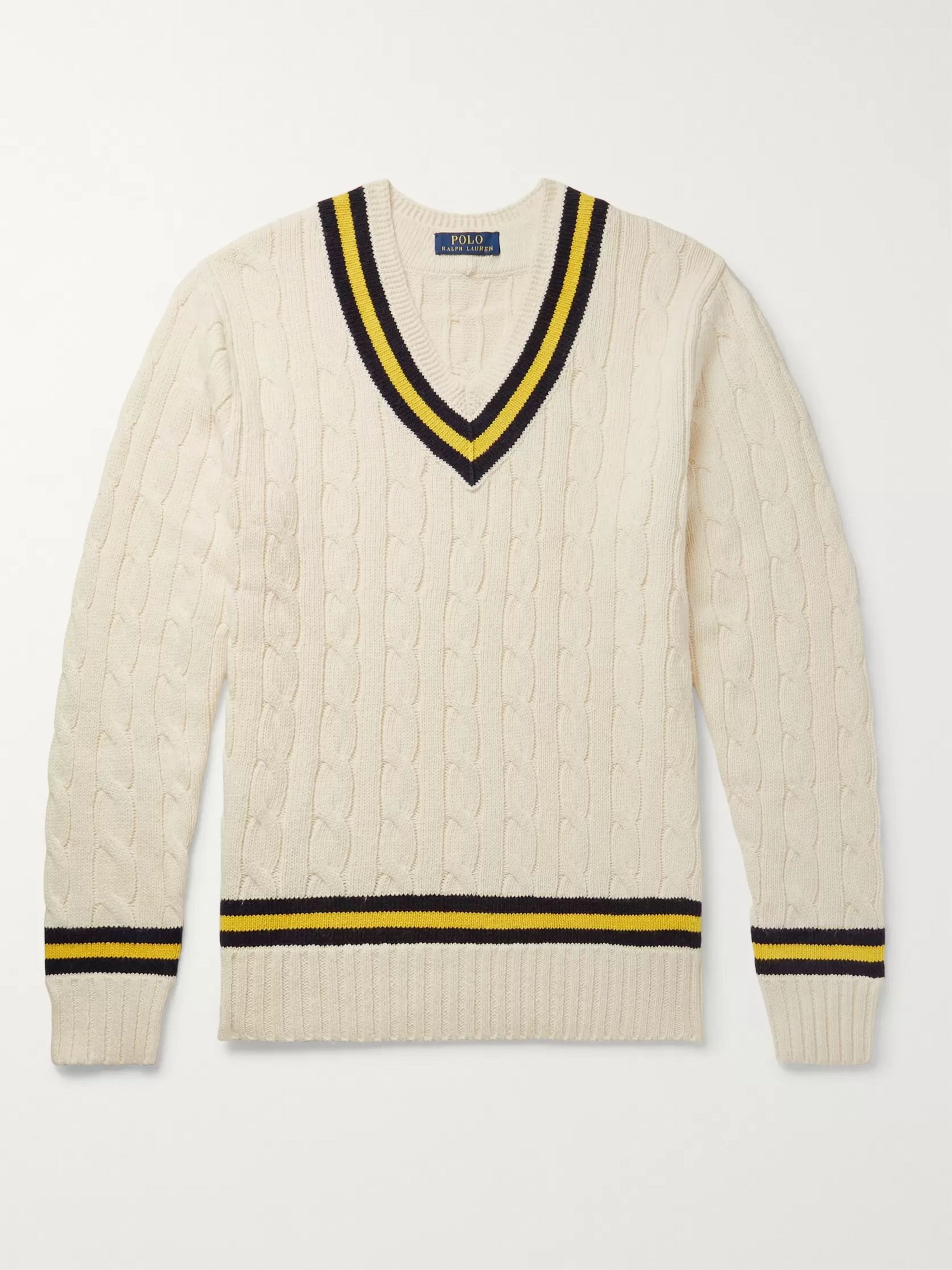d1cbf05488 Striped Cable-Knit Cotton and Cashmere-Blend Sweater
