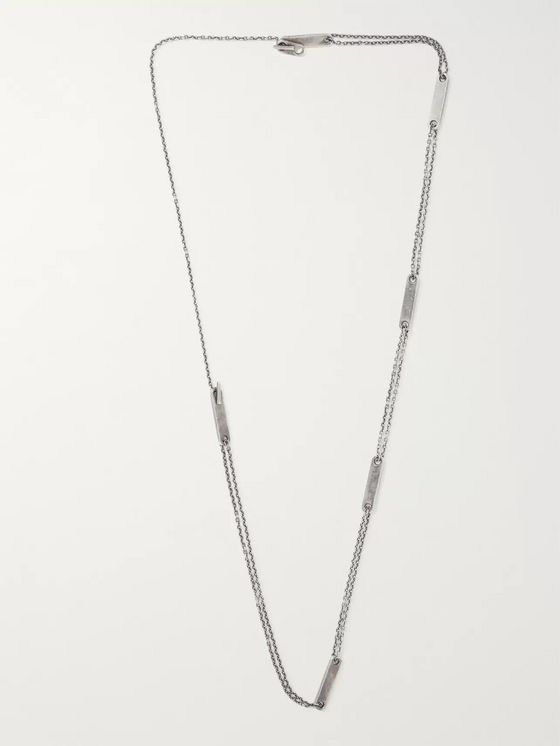 M.Cohen Oxidised Sterling Silver ID Necklace