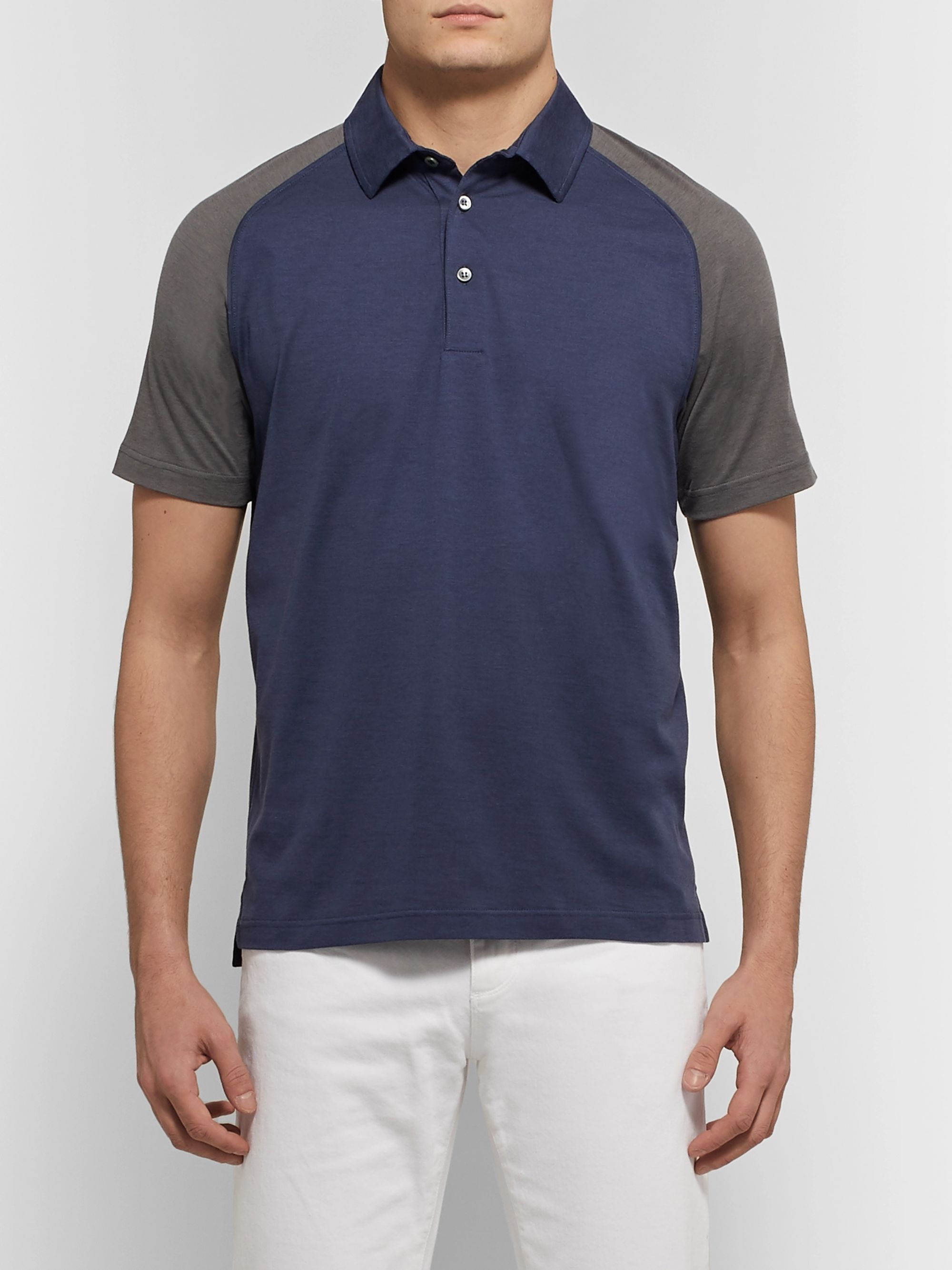 Loro Piana Colour-Block Silk and Cotton-Blend Polo Shirt