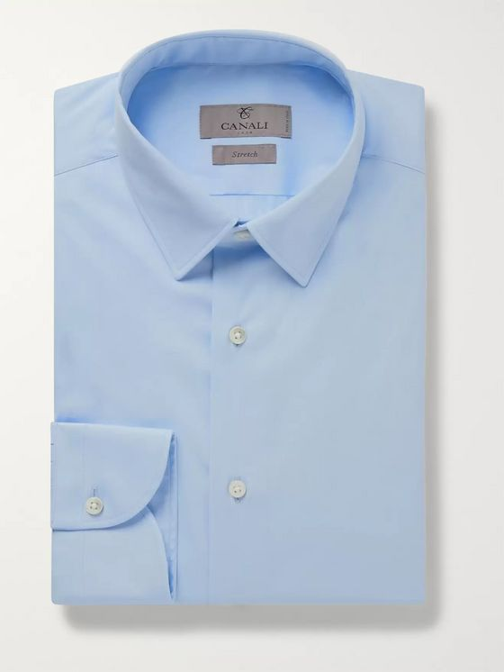 Canali Light-Grey Slim-Fit Stretch Cotton-Blend Poplin Shirt