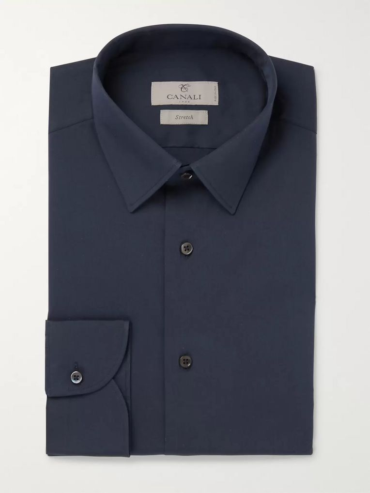 Canali Slim-Fit Stretch-Cotton-Poplin Shirt