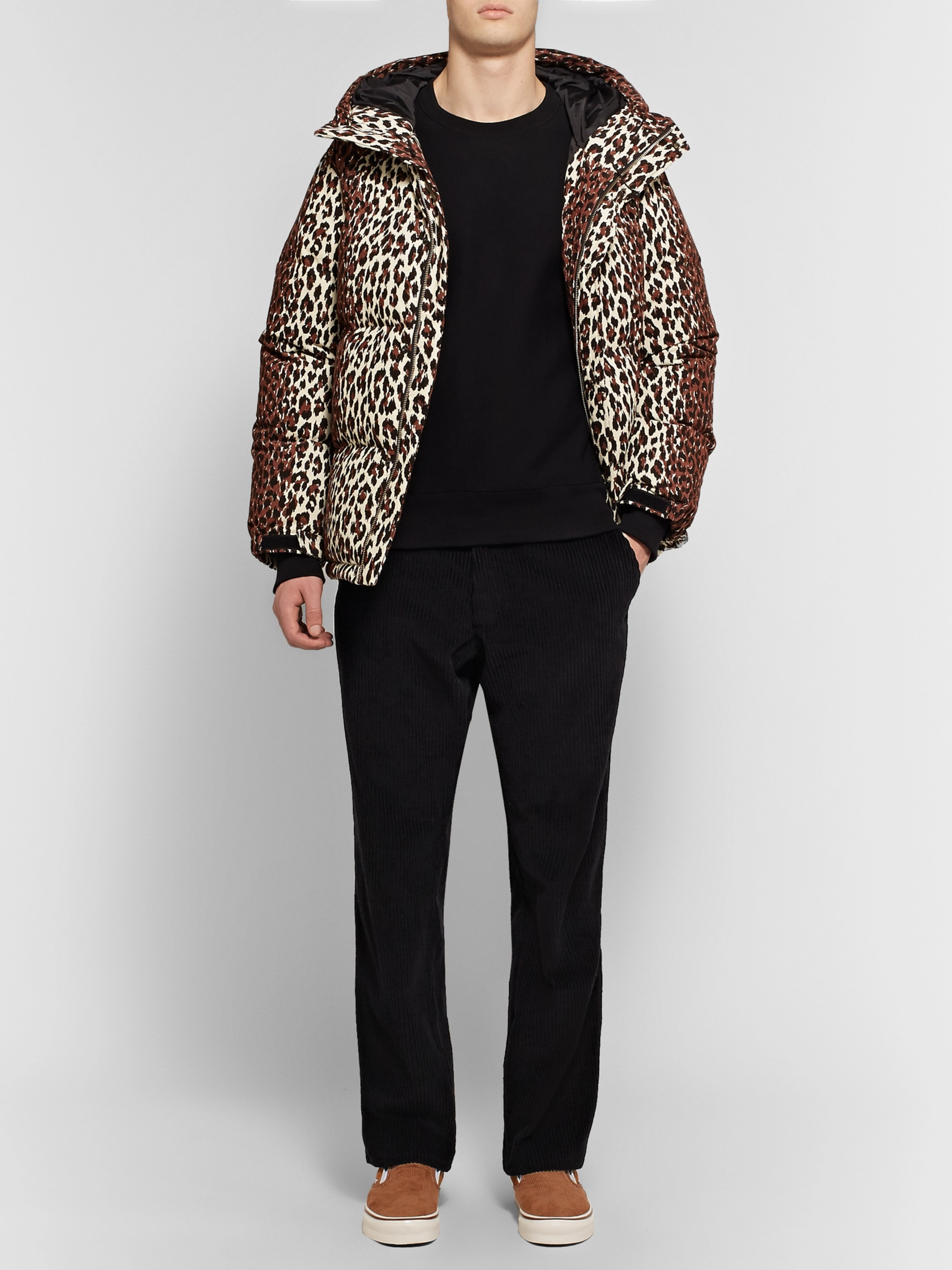 Wacko Maria Leopard-Print Quilted Cotton-Corduroy Down Jacket