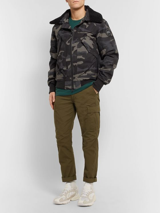 CANADA GOOSE Bromley Shearling-Trimmed Camouflage-Print Shell Down Bomber Jacket