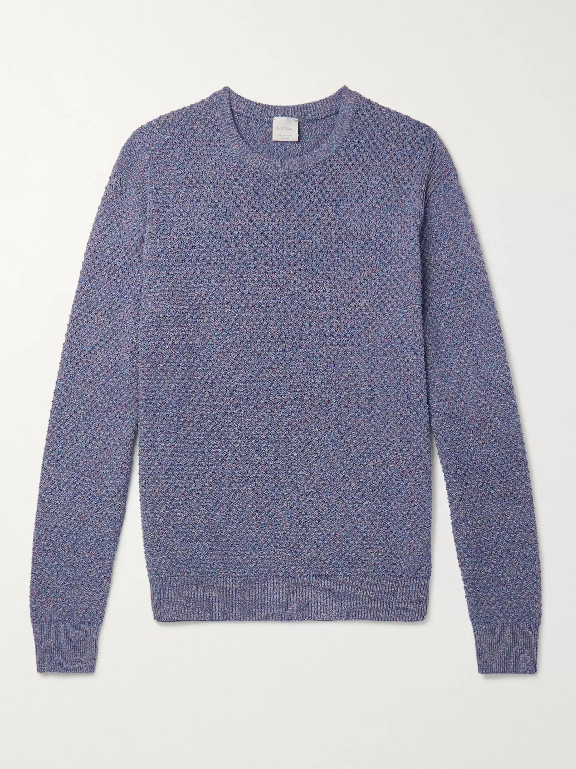 Cut Away Knitted Textured Melange Skjorte