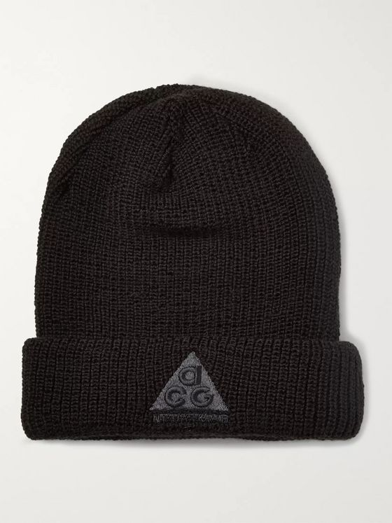Nike Logo-Appliquéd Ribbed Stretch-Knit Beanie