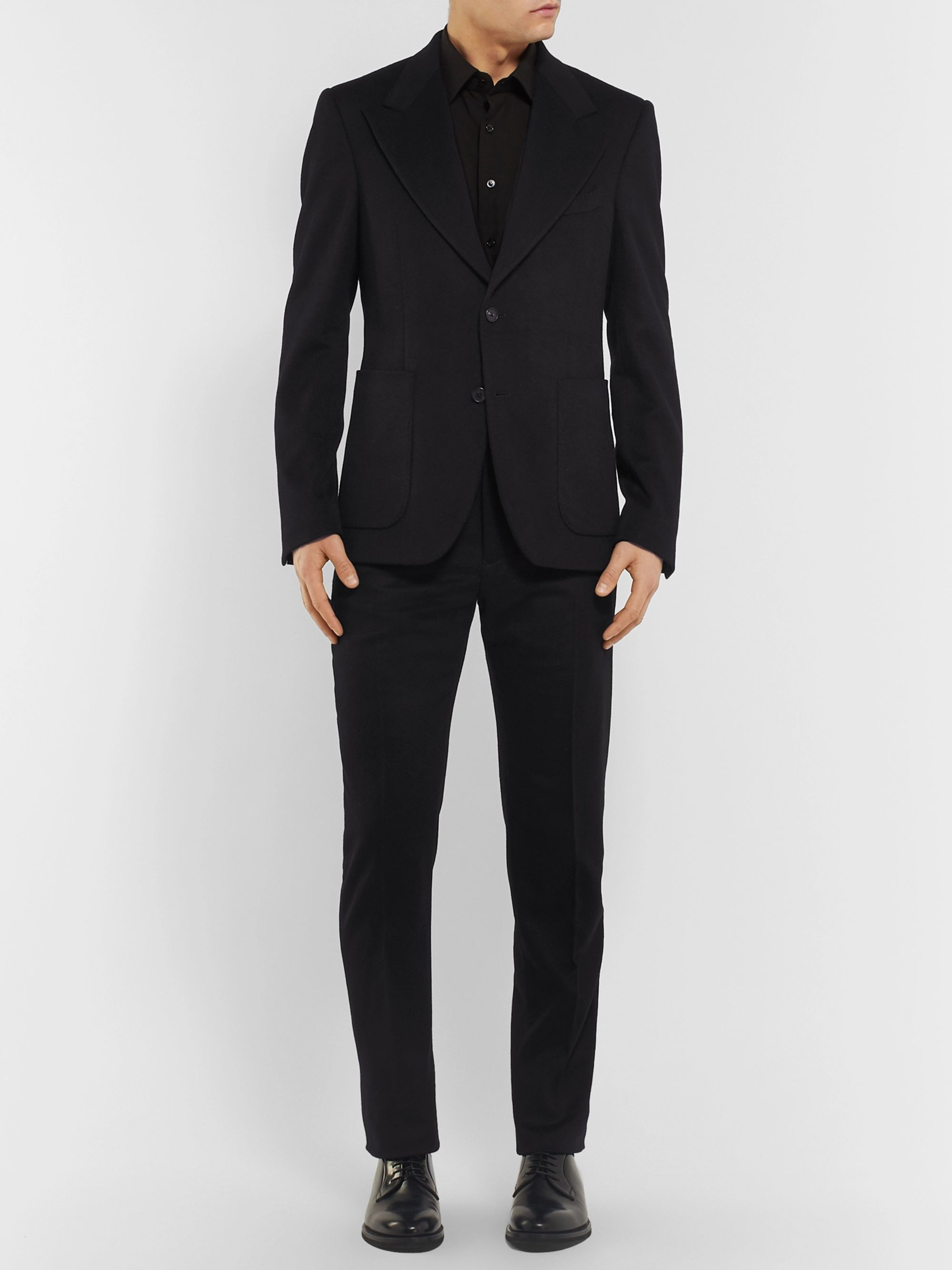 SALLE PRIVÉE Black Rocco Slim-Fit Cashmere Suit Trousers