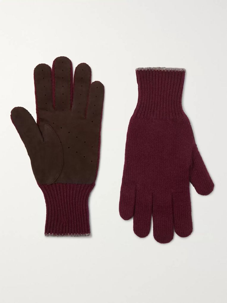 Brunello Cucinelli Wool and Suede Gloves