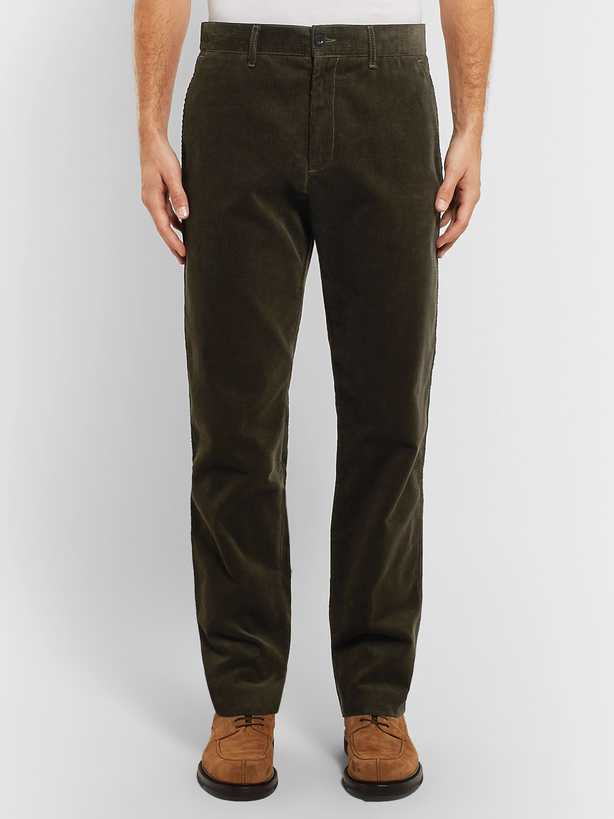 Mr P. Army-Green Cotton-Corduroy Trousers