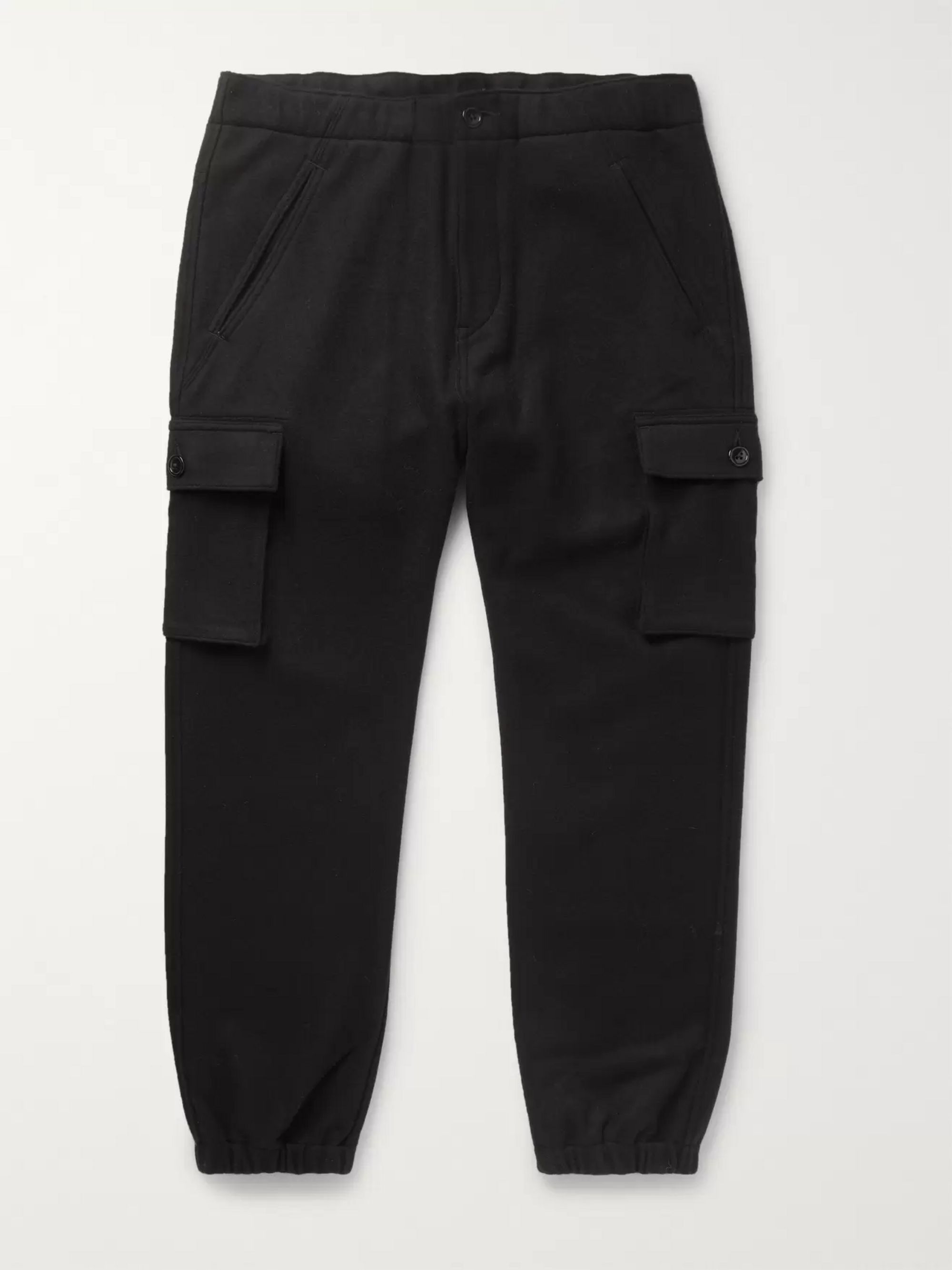 Neighborhood Black Tapered Wool-Blend Flannel Cargo Trousers