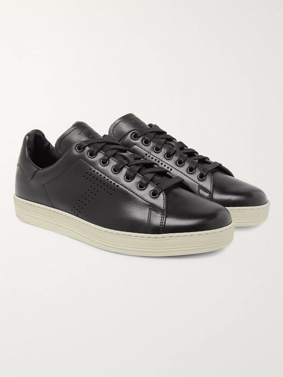 TOM FORD Warwick Burnished-Leather Sneakers