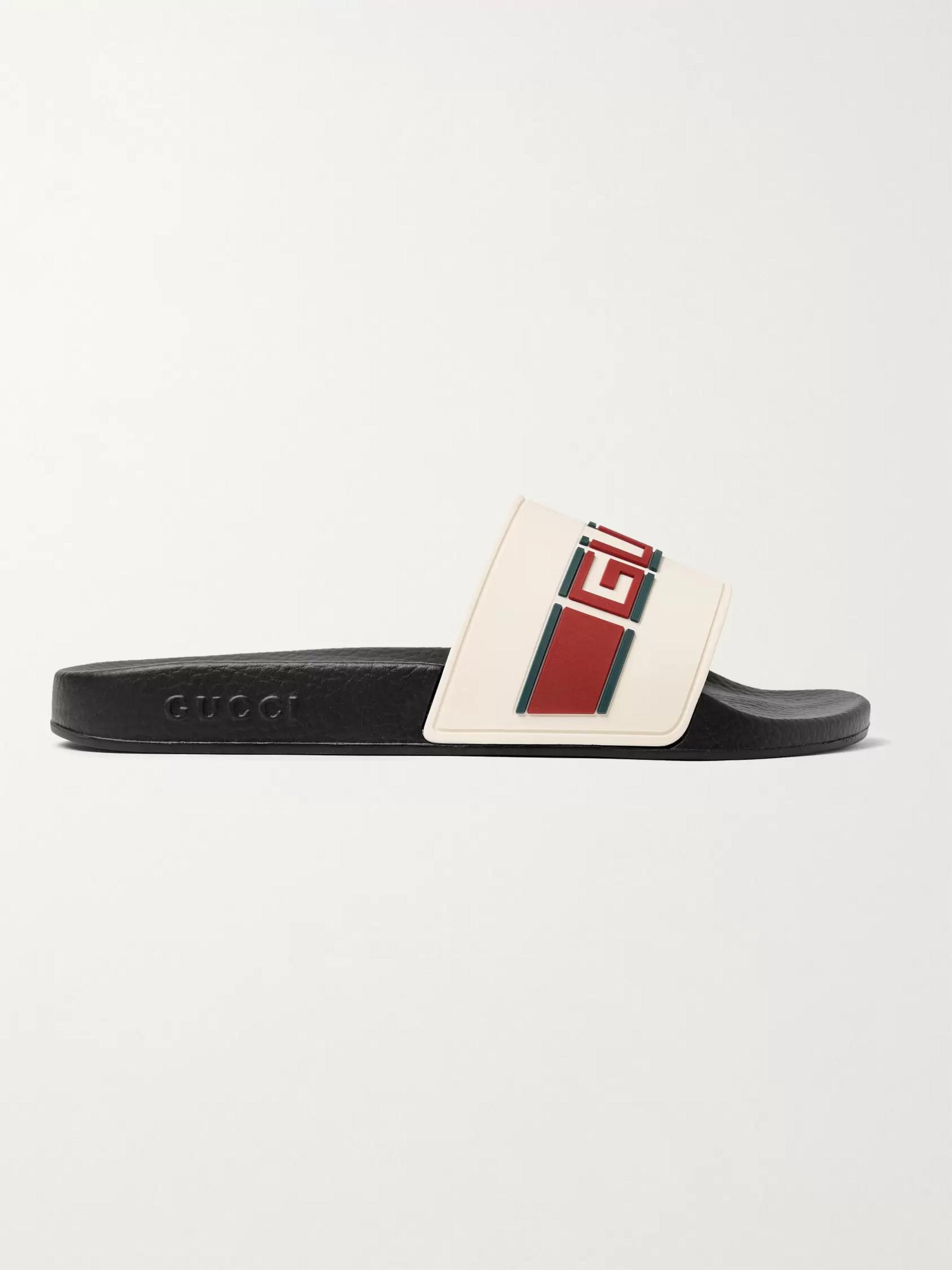 028f6ee17 Off-white Logo-Detailed Rubber Slides | Gucci | MR PORTER