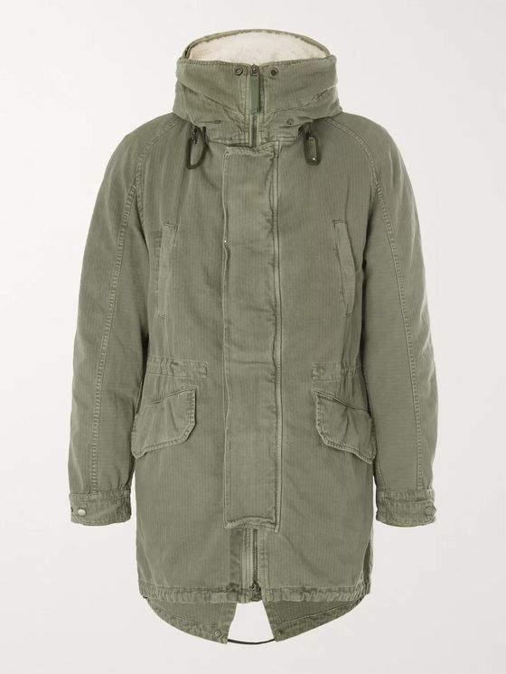 Yves Salomon Shearling-Trimmed Hooded Canvas Down Parka