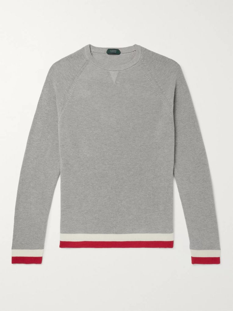 Incotex Slim-Fit Contrast-Tipped Cotton Sweater