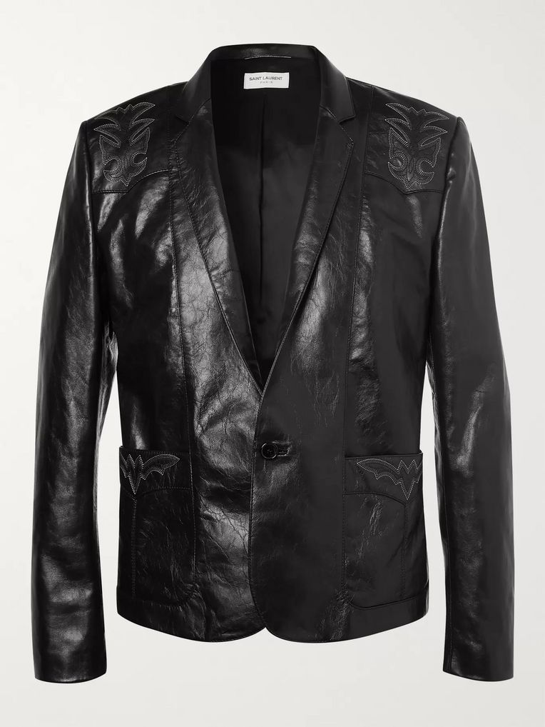 SAINT LAURENT Embroidered Leather Jacket