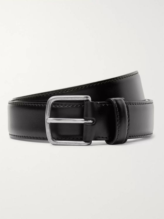 The Row 3cm Black Polished-Leather Belt