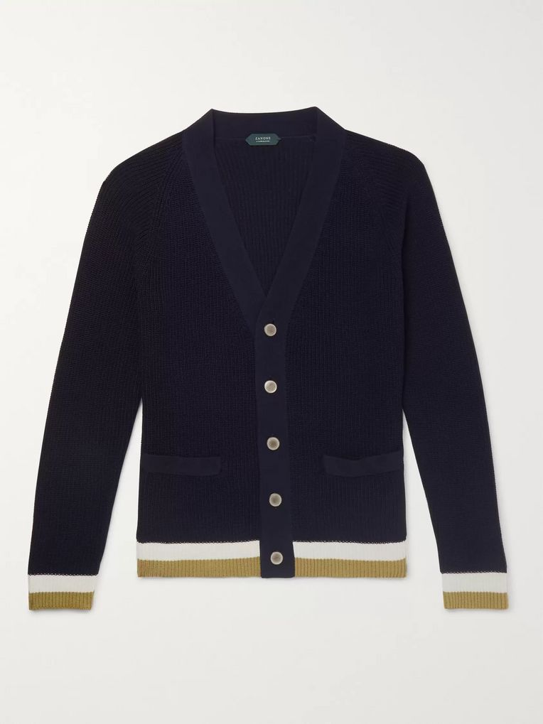 Incotex Slim-Fit Contrast-Tipped Cotton Cardigan