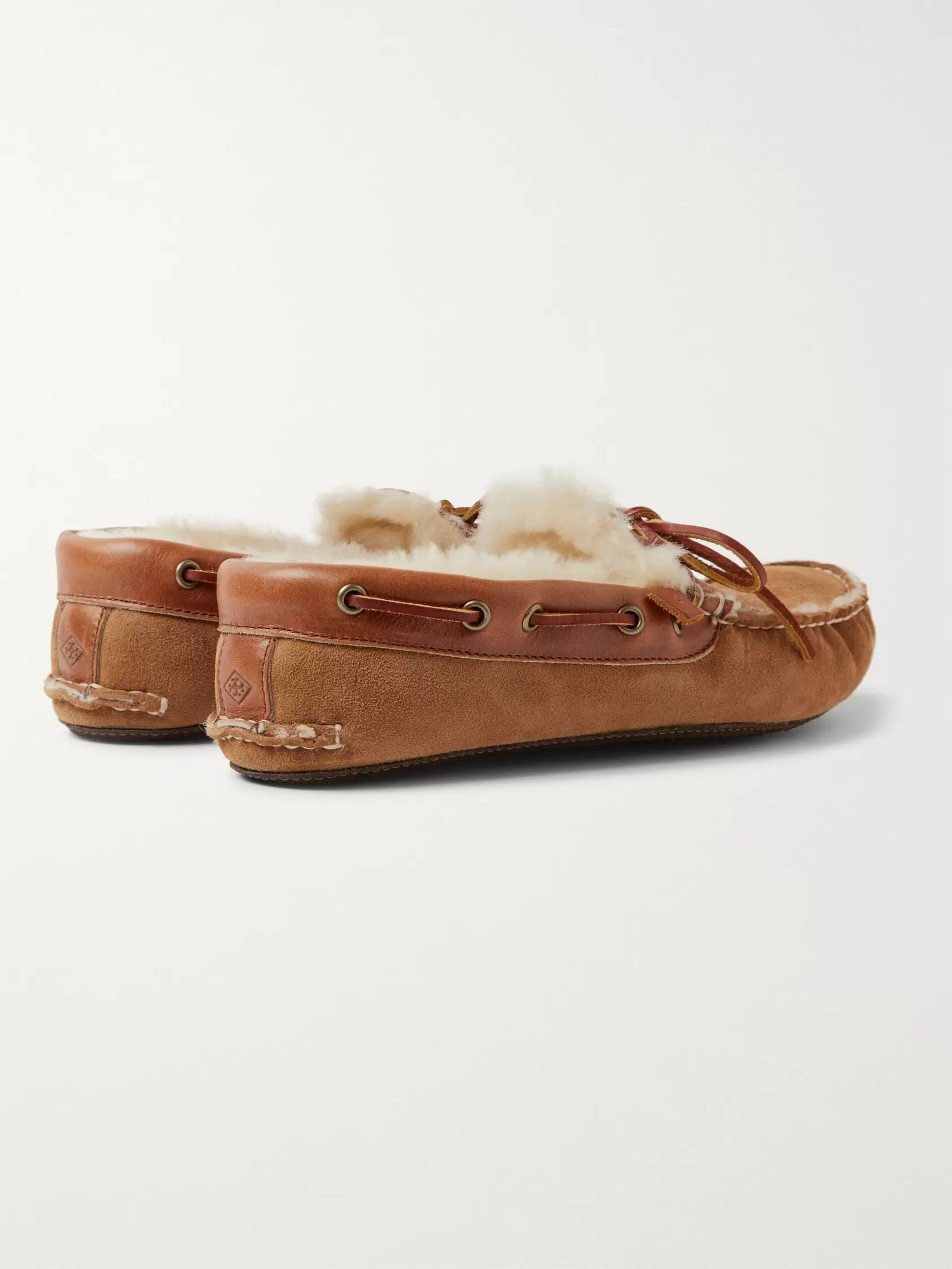 Quoddy Fireside Leather-Trimmed Shearling-Lined Suede Slippers