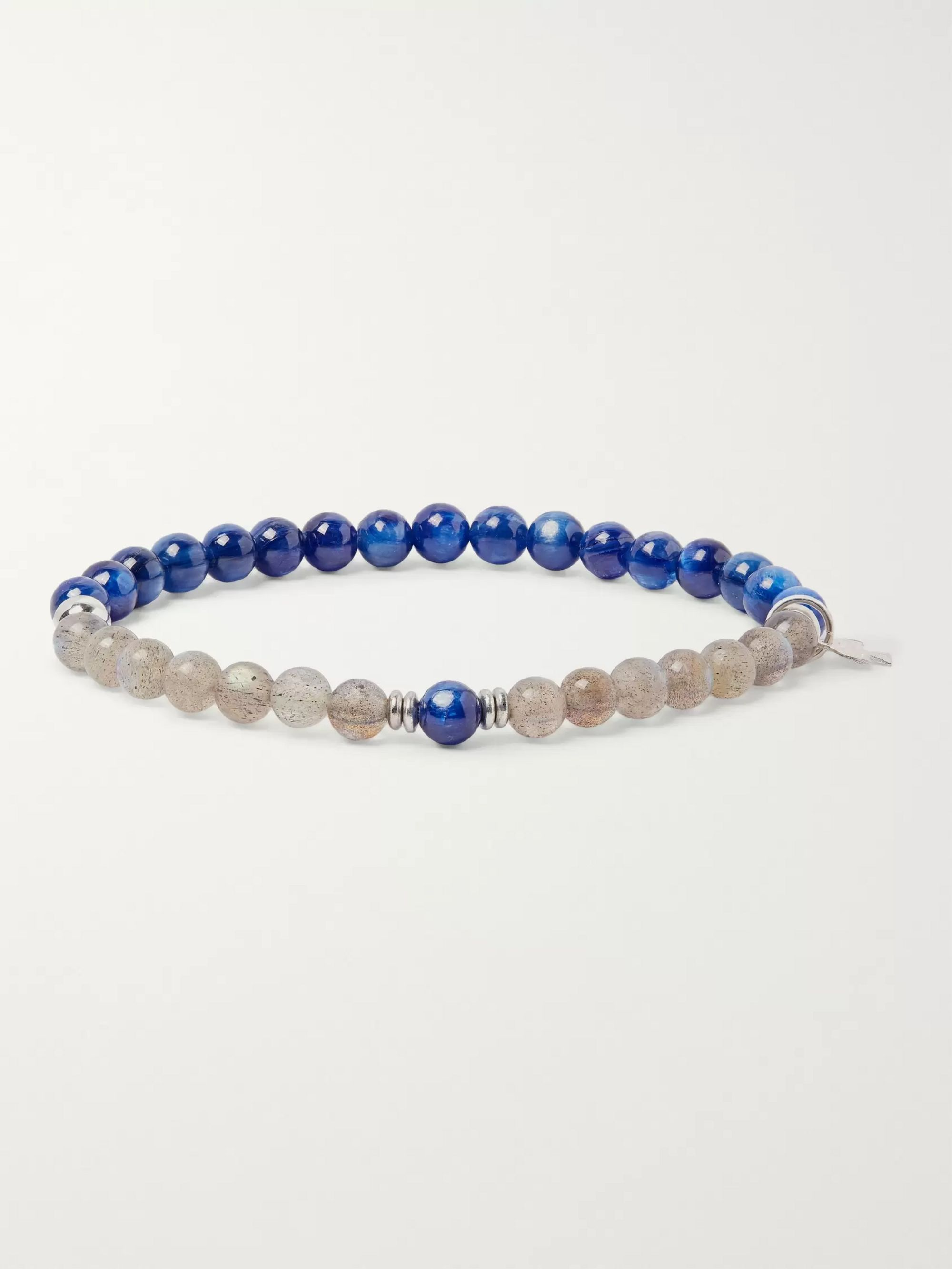 Peyote Bird Kyanite, Labradorite and Sterling Silver Bracelet