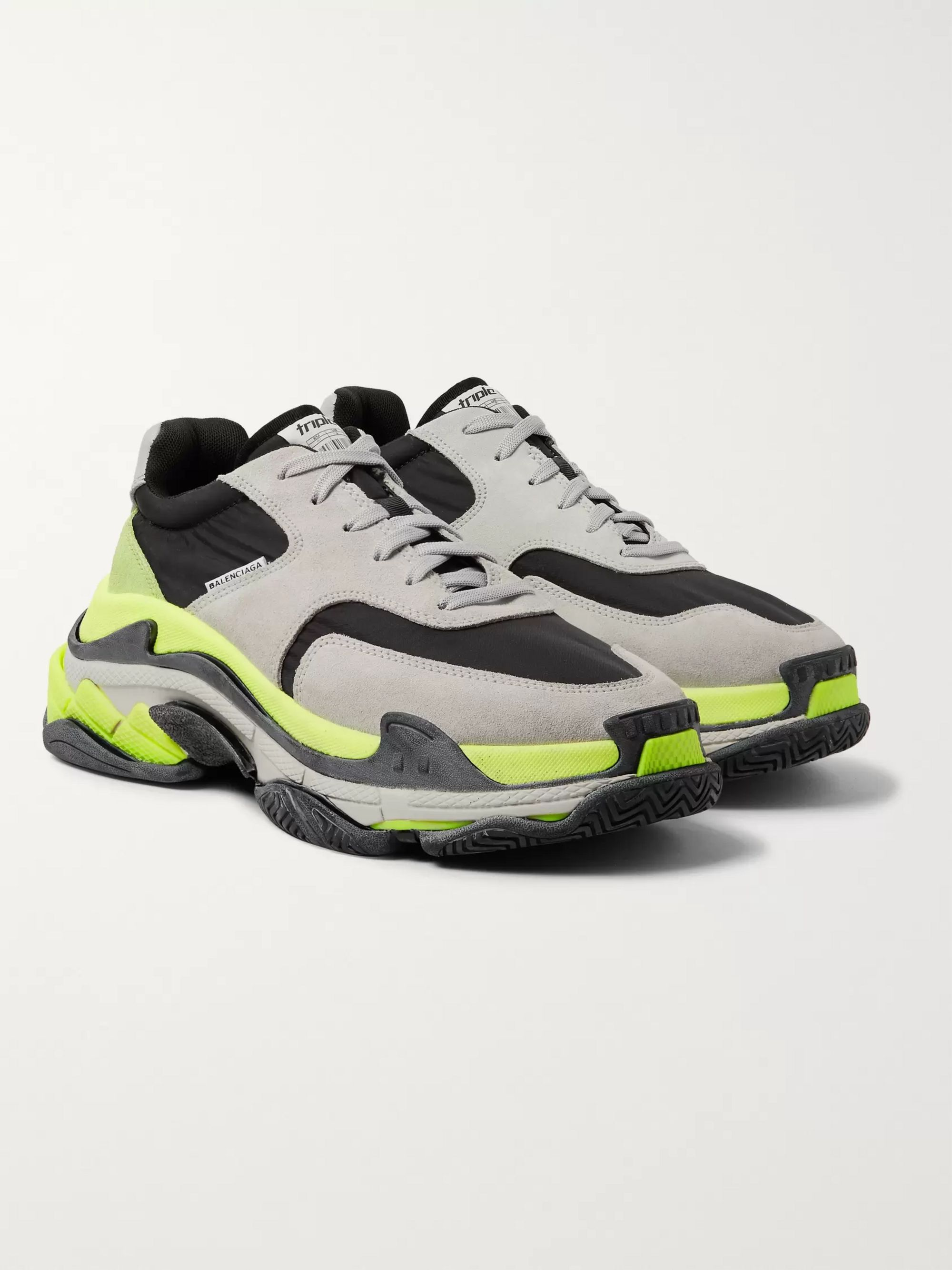 Triple S Nylon, Suede and Leather Sneakers
