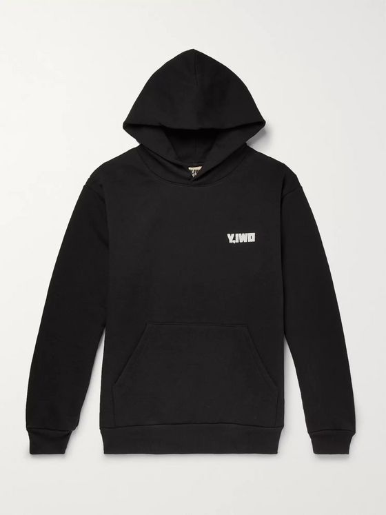 Y,IWO Logo-Print Fleece-Back Cotton-Jersey Hoodie