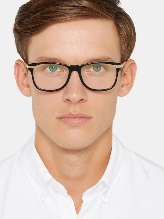 CARTIER EYEWEAR Square-Frame Acetate and Gold-Tone Optical Glasses