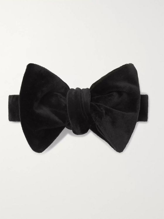 SALLE PRIVÉE Alex Self-Tie Cotton-Velvet Bow Tie