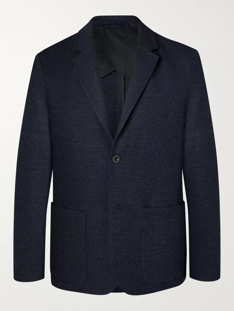 Mr P. Navy Unstructured Virgin Wool-Blend Bouclé Suit Jacket