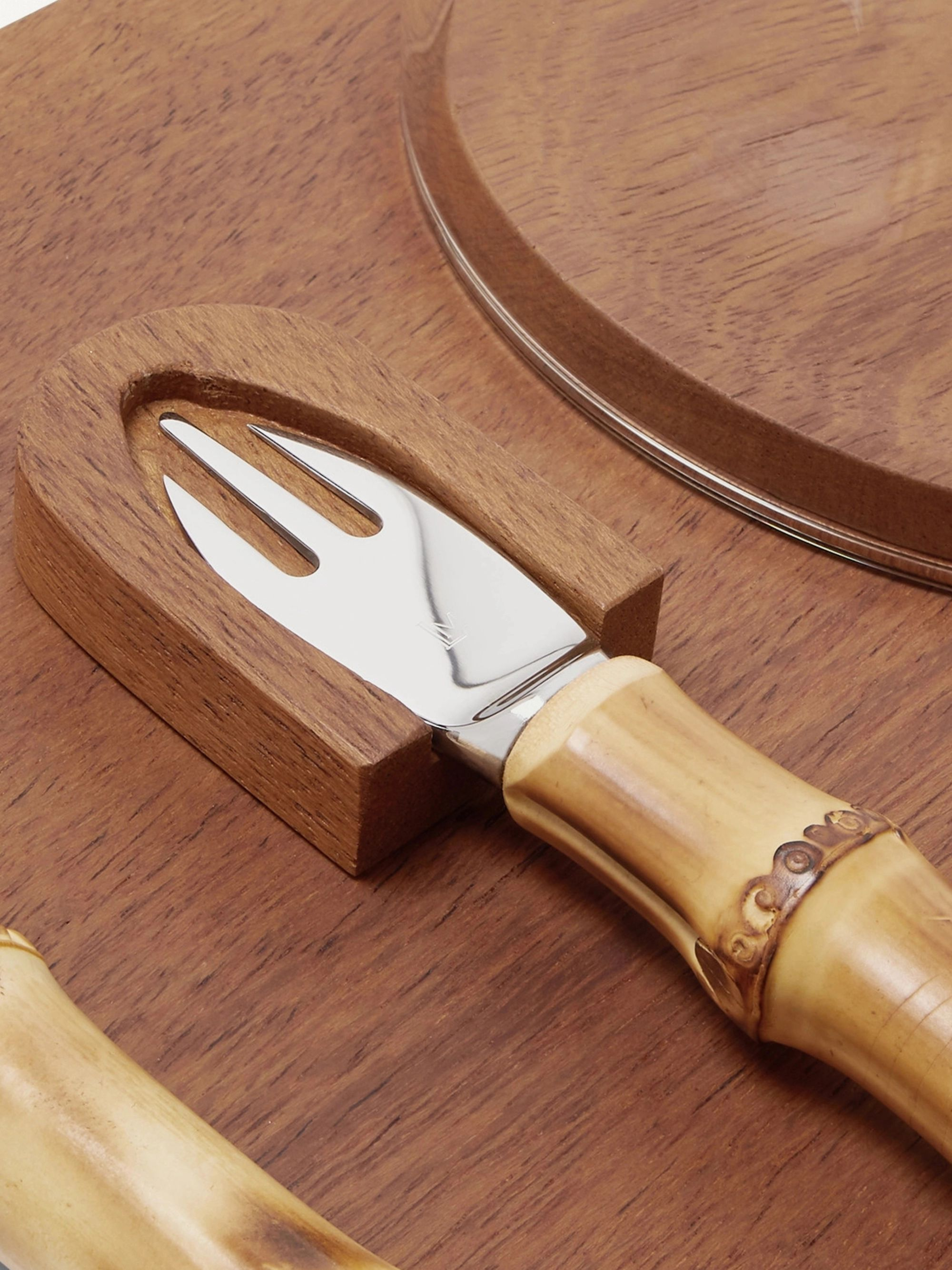 Lorenzi Milano Iroko Wood, Bamboo and Stainless Steel Parmesan Cheese Set