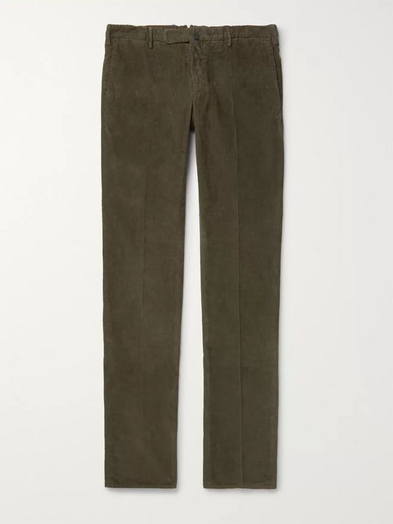 Incotex Slim-Fit Garment-Dyed Stretch-Cotton Corduroy Trousers