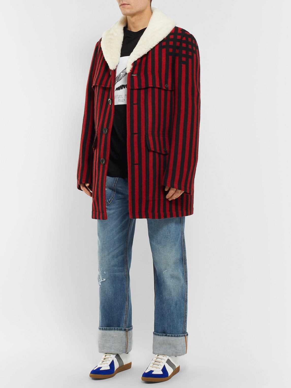 Loewe Coats SHEARLING-LINED STRIPED WOOL AND SILK-BLEND JACQUARD COAT