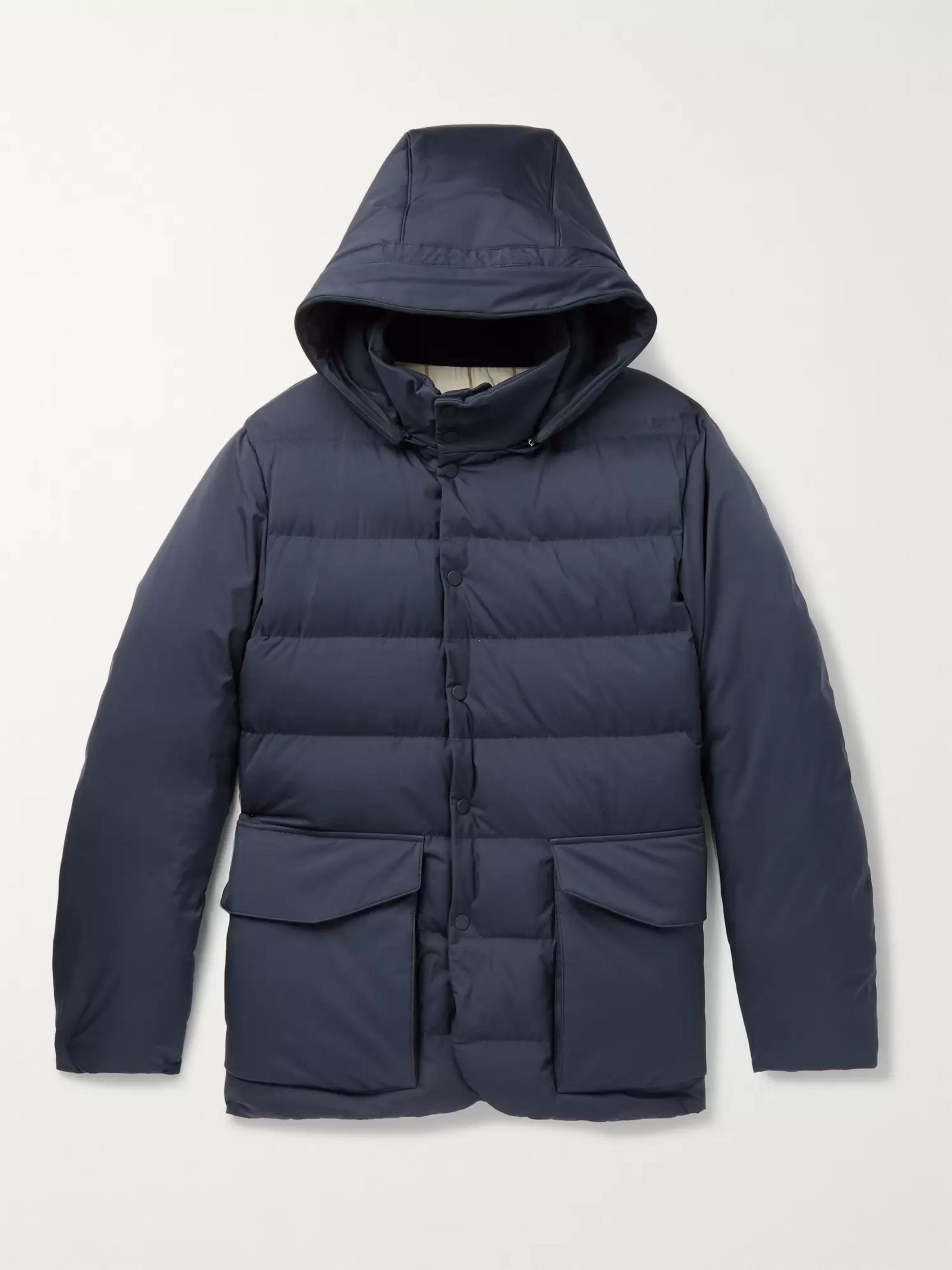Loro Piana Clearwater Quilted Storm System Shell Hooded Down Jacket