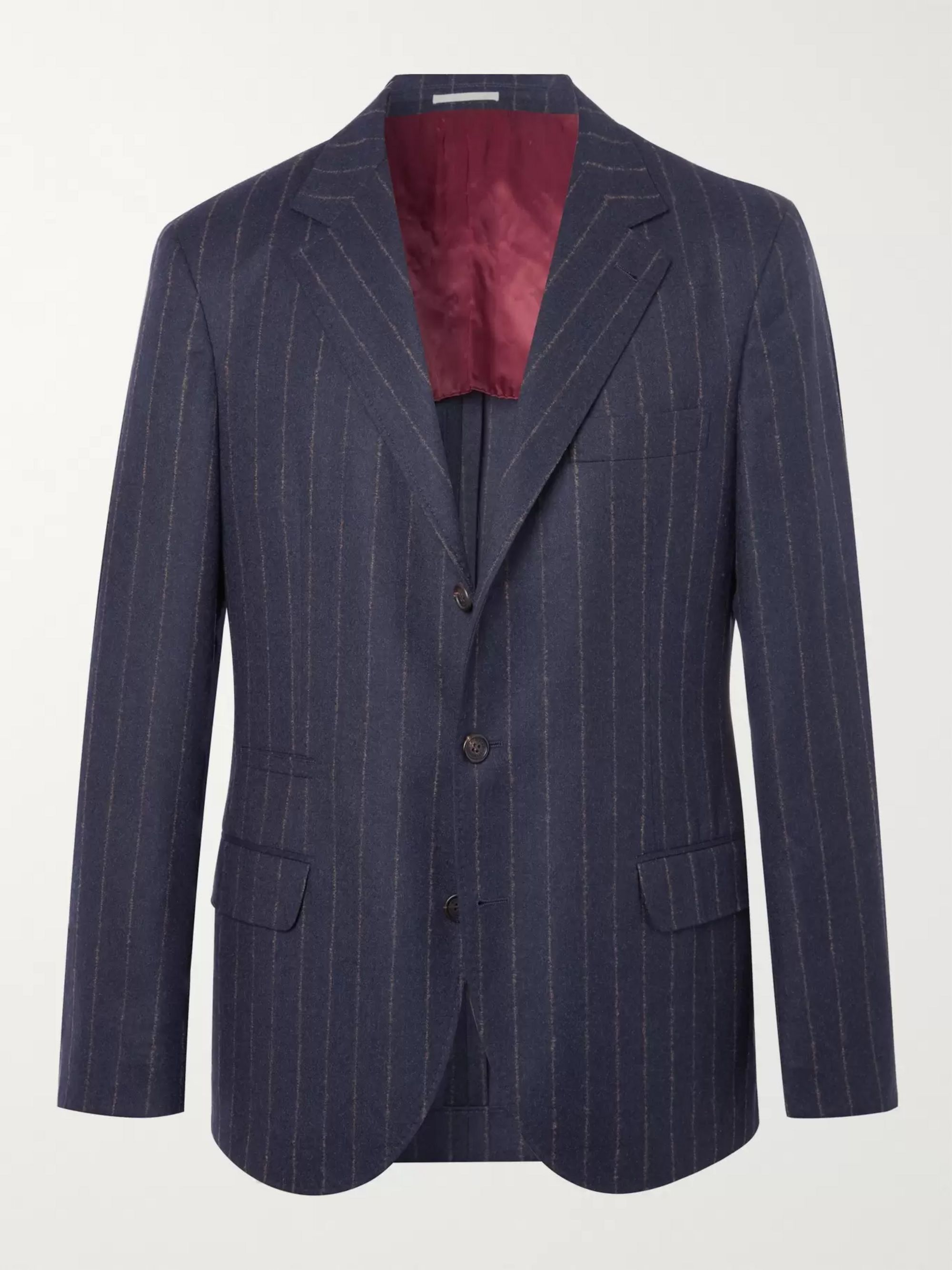 Navy Chalk Striped Wool Suit Jacket